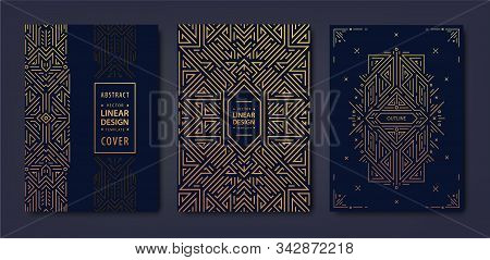 Set Of Vector Art Deco Golden Covers. Creative Design Templates. Trendy Graphic Poster, Gatsby Broch