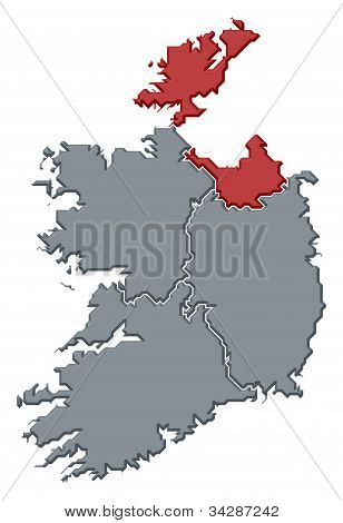 Map Of Ireland, Ulster Highlighted