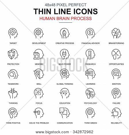 Thin Line Human Brain Process, Features Icons Set For Website And Mobile Site And Apps.