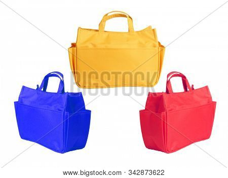 Three Canvas Shopping Bags on White Background