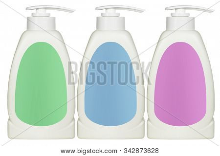 Plastic Cosmetic Bottles on White Background with Copy Space