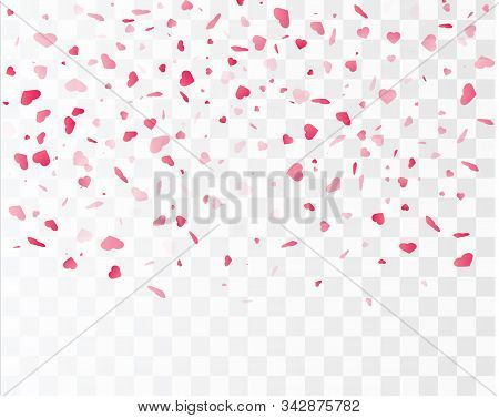 Heart Confetti Falling Down Isolated. Valentines Day Concept. Heart Shapes Vector Illustration