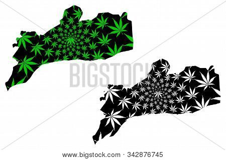Abyan Governorate (governorates Of Yemen, Republic Of Yemen) Map Is Designed Cannabis Leaf Green And