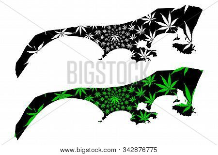 Aden Governorate (governorates Of Yemen, Republic Of Yemen) Map Is Designed Cannabis Leaf Green And
