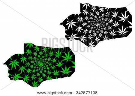 Al Jawf Governorate (governorates Of Yemen, Republic Of Yemen) Map Is Designed Cannabis Leaf Green A