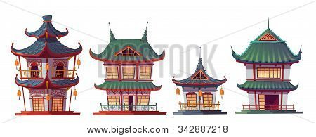 Chinese House Building Cartoon Vector Illustration. Traditional China Or Japan Architecture, Charact
