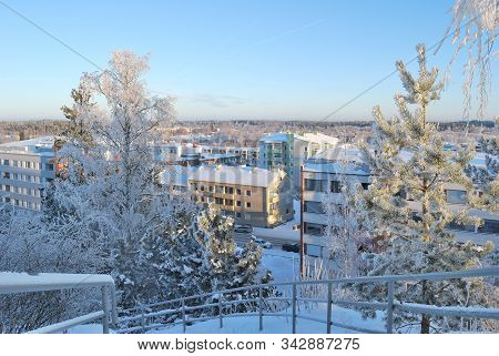 Finland. Top-view Of Mikkeli In A Cold Sunny Winter Day