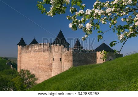 Khotyn Fortress Framed By A Flowering Tree