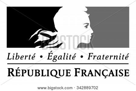 Save Download Preview Jassans, France - March 14, 2018: Liberty, Equality, Fraternity Sign And The N