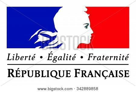 Jassans, France - March 14, 2018: Liberty, Equality, Fraternity Sign And The National Motto Of Franc
