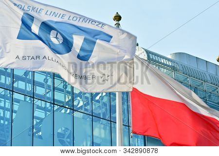 Warsaw,poland. 5 March 2018. Sign Lot. Company Signboard Lot. Polish National Flag And Pll Lot Compa