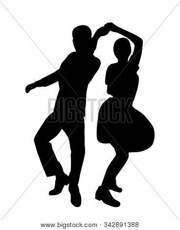 Couple On Vintage Retro Swing Jazz Party. Silhouette Isolated. People In 40s Or 50s Style Dancing Ro