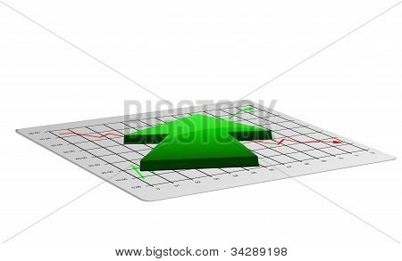 Business chart illustration with up arrow