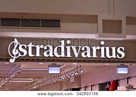Warsaw,poland. 14 March 2018. Sign Stradivarius. Company Signboard Stradivarius.