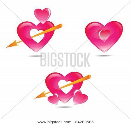 Set of pink hearts