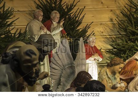Czestochowa, Poland, January 1, 2020: Fragment Of The Christmas Crib On The Ramparts Before Entering