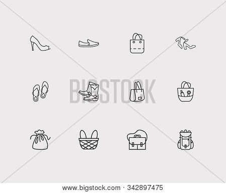 Accessory Icons Set. Flip-flops And Accessory Icons With Cowboy Boots, Satchel And Camping Bag. Set