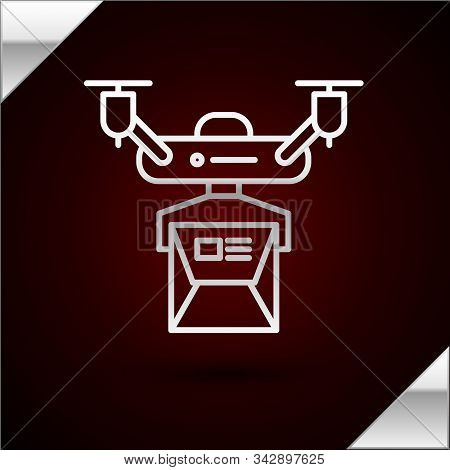 Silver Line Drone Delivery Concept Icon Isolated On Dark Red Background. Quadrocopter Carrying A Pac