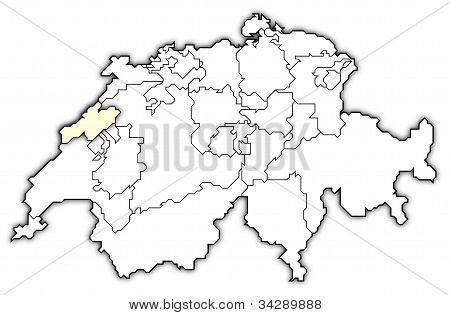 Map Of Swizerland, Neuchâtel Highlighted
