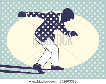 Couple Dancing Jazz Swing Isolated On Polka Dots Background. Horizontal Template Copy Space.vintage