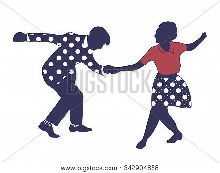 Couple Dancing Jazz Swing Isolated On White Background. Clothes In Pop Art Print Polka Dots. Vintage