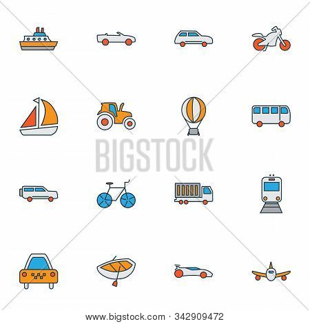 Transport Icons Colored Line Set With City Car, Motorcycle, Boat And Other Streetcar Elements. Isola