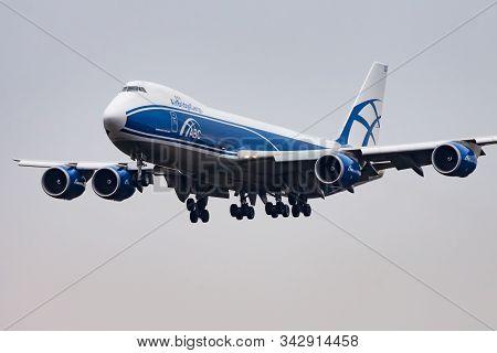 Frankfurt / Germany - December 7, 2012: Airbridgecargo Boeing 747-8 Vq-blq Cargo Plane Landing At Fr