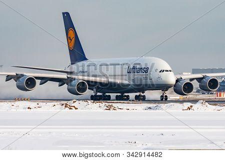 Frankfurt / Germany - December 8, 2012: Lufthansa Airbus A380 D-aima Passenger Plane Departure At Fr