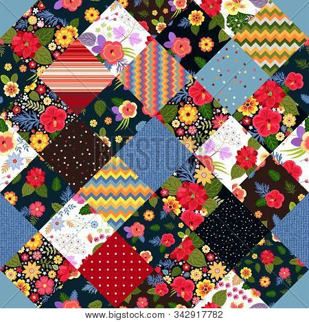 Bright Patchwork Pattern With Colorful Tropical Flowers. Blanket, Rug, Pillowcase.