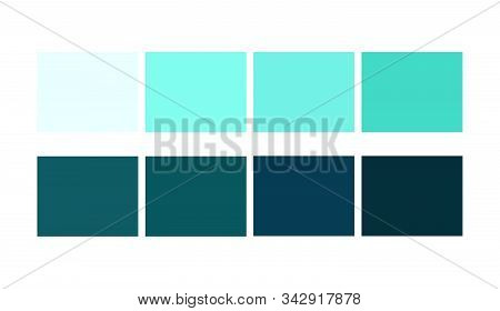 Cyan, Sea Color  Squares Set Catalog For Graphic Arts. Shade And Ligths Palette For Cartoon Design.