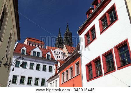 Meissen, Germany. Old Town Street View In Free State Of Saxony.