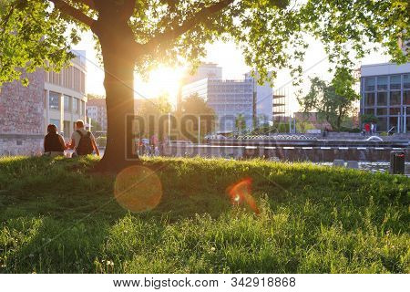 Chemnitz, Germany - May 8, 2018: Sunset View In Chemnitz City, Germany. Chemnitz Is The 3rd-largest