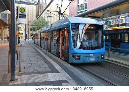 Chemnitz, Germany - May 8, 2018: Shopping Malls And Cvag Electric Tram In Chemnitz, Germany. Chemnit
