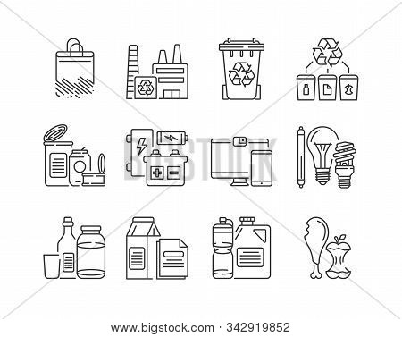 Recycling Black Line Icons Set. Garbage Sorting. Zero Waste Lifestyle. Eco Friendly. Sign For Web Pa