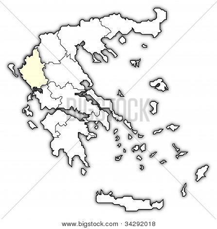 Map Of Greece, Epirus Highlighted