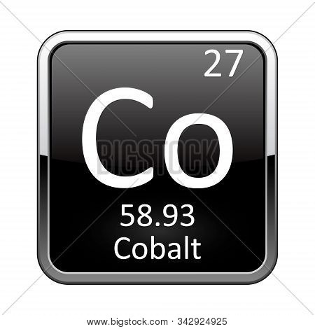 Cobalt Symbol.chemical Element Of The Periodic Table On A Glossy Black Background In A Silver Frame.