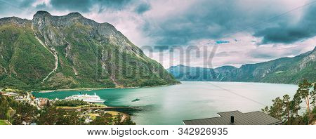 Panorama Of Eidfjord, Norway. Stockholm, Sweden. Touristic Ship Or Ferry Boat Boat Liner Moored Near