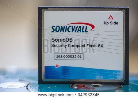 Timisoara, Romania - September 15, 2019: Close-up Of A Compact Flsah Card. Sonicwall Sonicos Securit