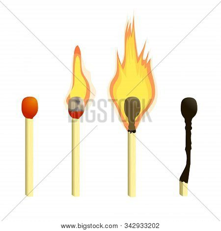 Stock Vector Illustration Of A Burning Match By Fire, Matchstick Coal. Light From The Fire. In Carto