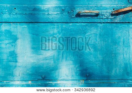 Aged Natural Old Blue Color Obsolete Metallic Background. Grungy Vintage Metal Surface. Painted Obso