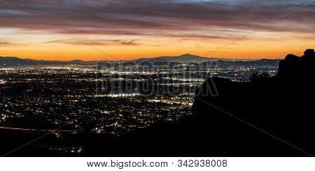 Panoramic Los Angeles California dawn from the Santa Susana Mountains above the San Fernando Valley.