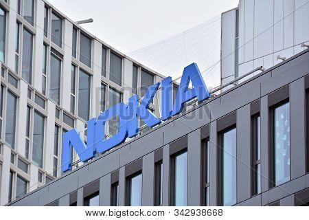 Warsaw, Poland. 10 February 2018.  Company Signboard  Nokia. Sign Nokia