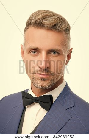 Proper Bow Tie. Gentleman Modern Style. Guy Well Groomed Bearded Gentleman Wear Tuxedo. Barber Shop