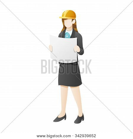 Vector Illustration Business Woman Wear Construction Helmet And Open The Blueprint. Character Of A P