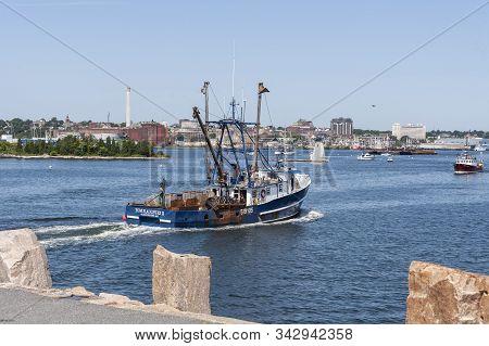 Fairhaven, Massachusetts, Usa - August 20, 2019: Commercial Fishing Boat Tom Slaughter Ii, Hailing P