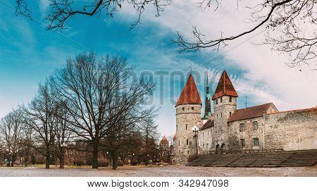 Tallinn, Estonia. Part Of Tallinn City Wall. Kuldjala Torn Tower, Sauna Tower Saunatorn. Old Walls O