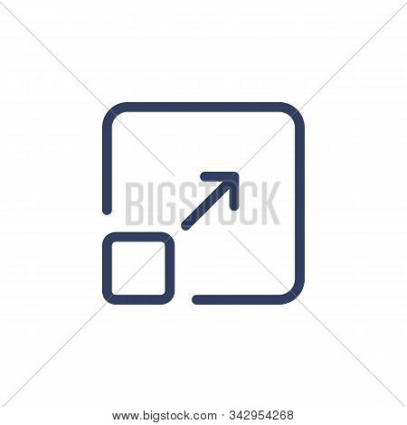 Line Icon Resize With Arrow Isolated On White Background. Vector Illustration.
