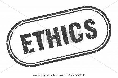 Ethics Stamp. Ethics Square Grunge Sign. Ethics