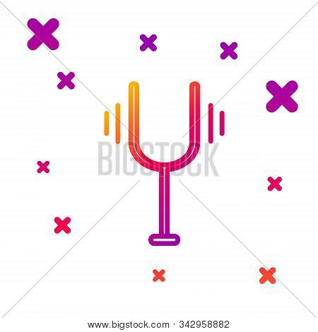 Color Line Musical Tuning Fork For Tuning Musical Instruments Icon Isolated On White Background. Gra