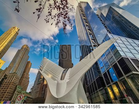 New York City, Usa - December 18, 2019: Outdoor View Of World Trade Center Transportation Hub Or Ocu